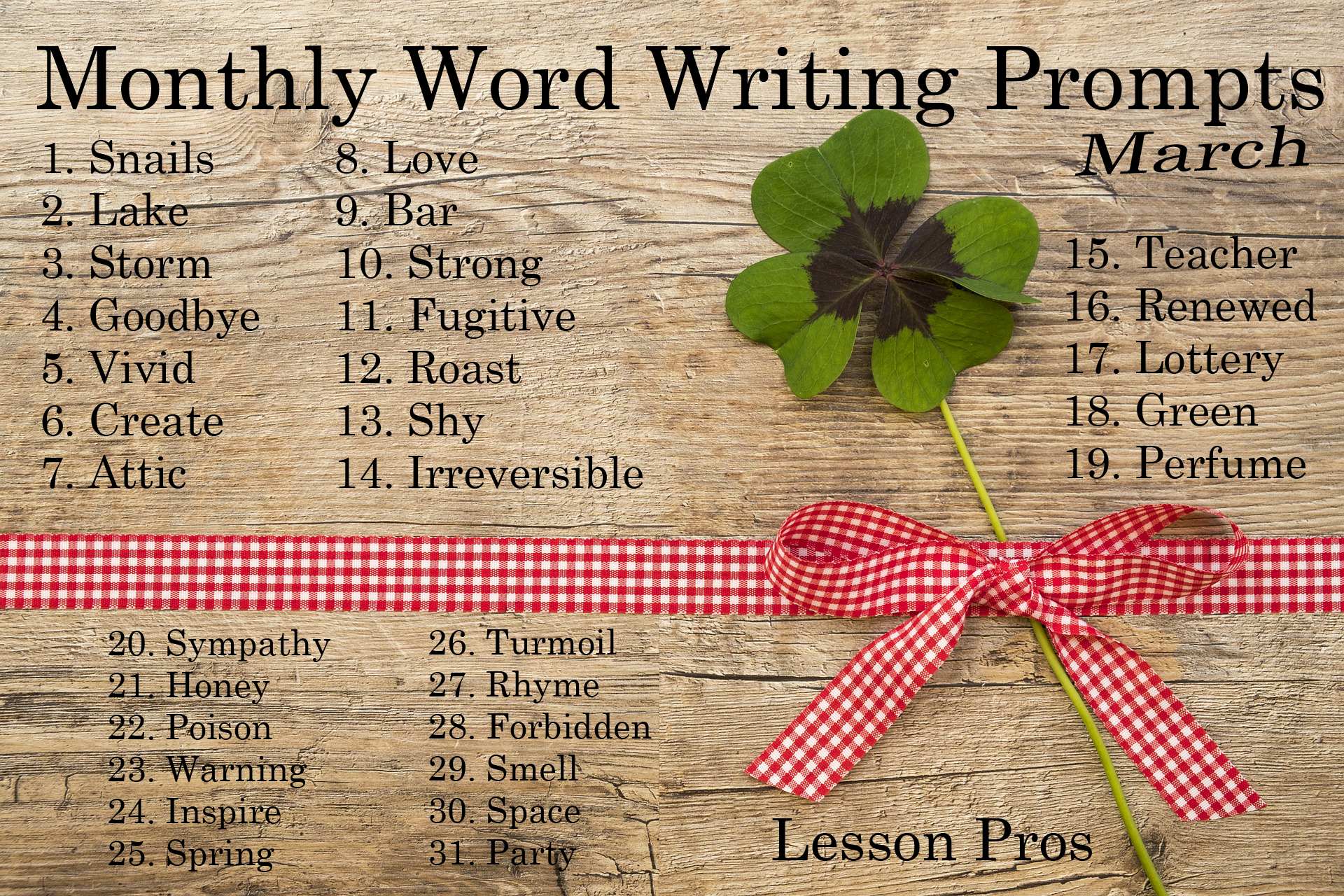 Word Writing Prompts - Lesson Pros