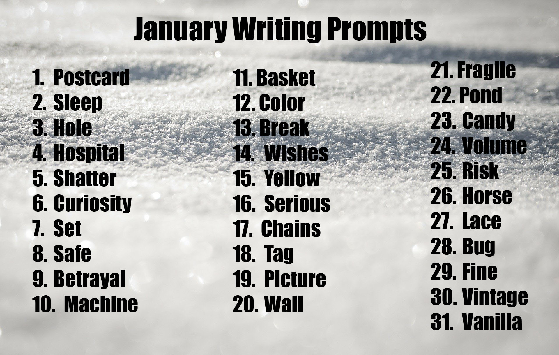 Winter Snow Writing Prompts Lesson Pros January
